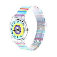 Free shiping!6018 Round Shaped Blue Watch Dial Colorful Rainbow Plastic Cement Watchband Women's and Kid's Wrist Watch