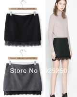 women wool skirt 2013 autumn winter new fashion european style black grey color slim pencil mini skirt lace patchwork bottom