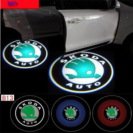 Spedizione gratuita! 4 ° generazione 12v3w auto led luci di benvenuto per skoda luce laser di auto proiettore lampada veicolo porta luce