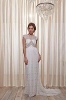2014 Custom Made A-Line Anna Campbell Wedding dress Lace Floor-Length Short Tank Tulle Beading and Sequins Belt