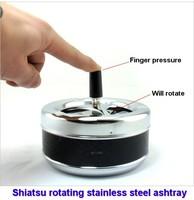 Shiatsu rotating stainless steel ashtray Closed ashtray as a gift
