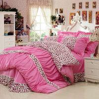 100% cotton Leopart korean princess 4pcs bedding sets with duvet/quilt cover,bed sheet and pillow cases,bedspread,home textiles