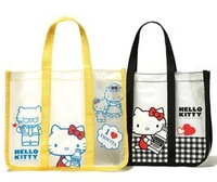 (30 Pcs/Lot) Cute And Fashion Hello Kitty Women Girl's Transparent Waterproof Totes Handbags,Size30*24*10 CM