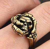 Free shipping unisex ring adjustable size personalized skull ring personality jewelry cheap wholesale