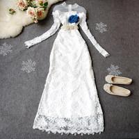 2014 spring lace one-piece dress women's star slim dress full dress