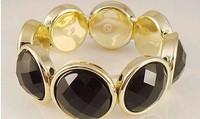 Free shipping more than $15+gift elegant big fashion woman man black flexible nice inlaying bracelet crystal acrylic jewelry