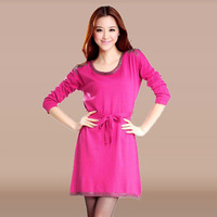 Women's knitted cashmere sweater slim one-piece dress beading medium-long sweater