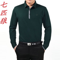 Septwolves men's clothing long-sleeve T-shirt 2013 turn-down collar loose 100% cotton fashion cotton t