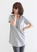 Summer women's short-sleeve T-shirt solid color cotton medium-long 100% loose pocket o-neck brief