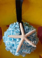 Hot Sale!!! (20cm) Wonderful Beach Wedding  Rose Ball W/Starfish Ribbon Hanger Beach Wedding Decoration   *FREE SHIPPING*