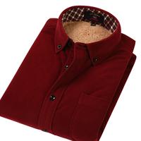 men fashion clothing male plus velvet thickening long-sleeve shirt corduroy thermal shirts formal wear free drop shipping