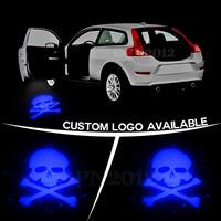 Car Door Step Ground Courtesy Cree LED Emblem Projection Spotlight Ghost Shadow Light Badge SKULL GOBO Puddle Light 2476 Blue