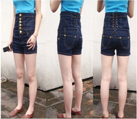 Ladies Denim,womens fashion back row gold buckle cross straps waist high waist denim pants