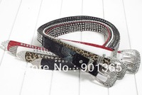 Womens Western Bling FX Leather Rhinestone Belt