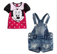 QZ001 Free shipping  girl 2pcs suit Children sets baby cartoon denim suit  short sleeve t shirts +pants sets Wholesale 5sets/lot