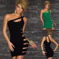 summer dress 2014 Fashion Women Sexy One Shoulder Asymmetrical Cut Out Sheath Clubwear Dresses Party Costume Mini free Size