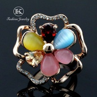 2014 High Quality Fashion Rings Jonquil Flower Woman 18K Gold Plated SWA ELEMENTS Austrian Crystal Ring FREE SHIPPING KJZ-705