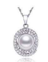 925 pure silvernecklace+11-11.5mm Natural freshwater pearl pendant Jewelry wholesale/Valentine's gifts