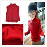 2013 autumn and winter clothing girls lace decoration princess puff sleeve plus velvet basic plus velvet long-sleeve shirt child