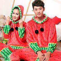 Male Women sleep set watermelon polka dot lovers lounge coral fleece twinset