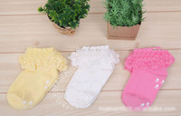 Free shipping children girsl lace socks baby hollow-out decorative pattern baby infant breathable socks,3 pairs/lot