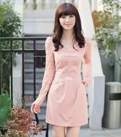 2013 autumn slim plus size elegant ol V-neck puff sleeve lace one-piece dress