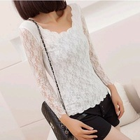 New Fashion knitting Y129 2014 spring t-shirt for women lace jacquard weave blouses clothes wholesale and retail FREE SHIPPING