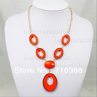 Red color Hot Selling New Fashion Bib Bubble Statement Women Necklace circle free shipment