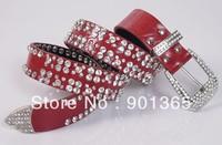 free shipping wholesale Christmas lady PU  leather buckle crystal  rhinestone belt