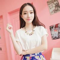 2013 summer handmade beading t-shirt 100% cotton round neck T-shirt female loose short-sleeve top