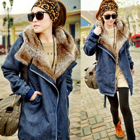 2013 wonter women denim down jacket flush liner thickening medium-long  wadded jacket free shipping