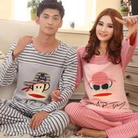 Lovers sleepwear 100% cotton male autumn and winter thickening long-sleeve cotton sleep set lounge