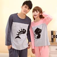 Cotton 100% cotton lovers sleepwear female autumn long-sleeve cartoon cat fish set lounge