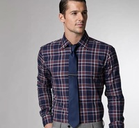 men's long sleeve formal shirt men casual work business shirt wedding party plaid  shirt