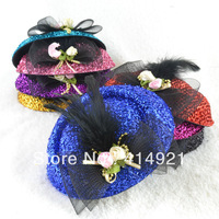 KJ 006 women feather decoration lovely Headwear Pure color shiny stewardess cap hairpin
