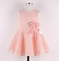2014 New  Boutique Korean girls sweet lace dress baby girls korean princess dress kids lace bow flower party costumes