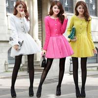 2013 women's sweet slim high waist long-sleeve gauze single breasted woolen sweep one-piece dress
