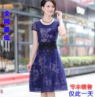 (CZ0299)2013 autumn mother chiffon dress short sleeve