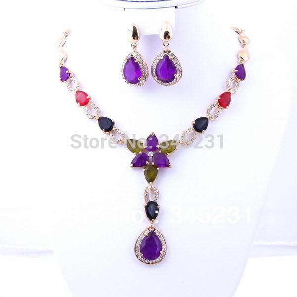 Free shipping 2014 fashion Australia Crystal jewellery set flower style zircon gold/Silver plated jewelry sets(China (Mainland))
