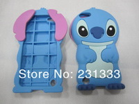 For ipod touch 5 Stitch cartoon 3D Lilo & Stitch soft silicone gel cute case rubber lovely cases 1pcs free shipping China Post