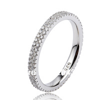 GNJ0478 NEW 2013 Full CZ finger ring Eternity wedding rings for women 1pc 925 sterling silver micro pave CZ Jewelry ring