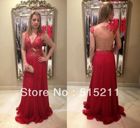 Deep V-neck See Through Back Sexy Red Mermaid Evening Dresses Chiffon Prom Gowns 2014 Vestidos De Festa Formales