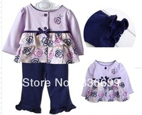 baby kids clothing suit set for spring autumn long sleeve flower shirt pant 2014 new popular child clothes