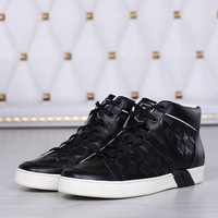 2014 Men's leather sports shoes.Brand high top sneakers.leather plaid casual shoes.spring/autumn sneakers with box,dusty bag.