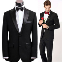 Free shipping latest high quality mens groom bespoke suit satin lapel