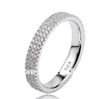 GNJ0477 Hot sale 2013 Full CZ finger ring Eternity wedding rings for women 1pc 925 sterling silver micro pave CZ Jewelry ring