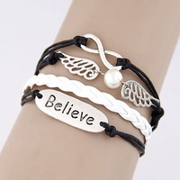 Free shipping Min. $10 (mix order) Fashion  Creative concise brand  wings combination alloy parts multilayer woven bracelets