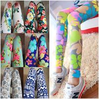 Free Shipping 2014 Fashion Spring Summer Leggings For  Women 100% Cotton Slim Flower  Legging