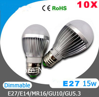 10pcs X E27 15W LED Blub AC85-265V Dimmable Cree E27 15W LED Bulb Lamp Light 15W Warn/ Cool white free shipping wholesale
