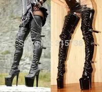 20cm heels women motorcycle boots,and 10cm platform women boots,thigh high boots